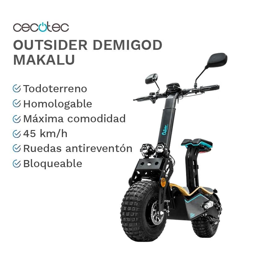 Características y ventajas del patinete Cecotec Outsider DemiGod Makalu